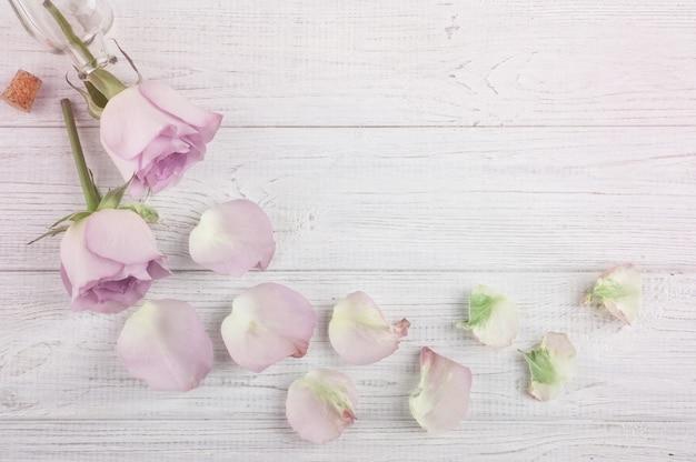 Plat lag frame van paarse rozen