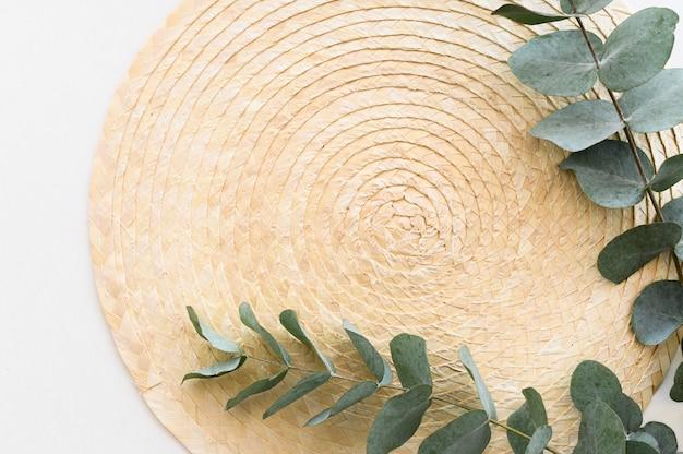 Plat lag grens weergave minimale takken eucalyptus bladeren over stro palte op witte achtergrond. kopieer ruimte.