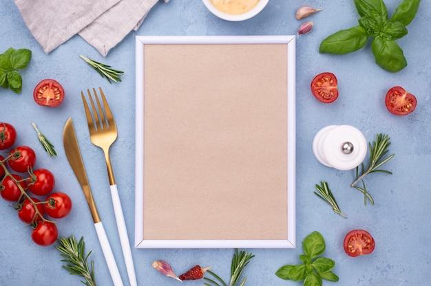 Plat lag ingrediënten en frame