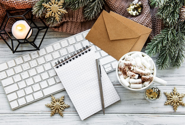 Plat lag kerst kantoor aan huis