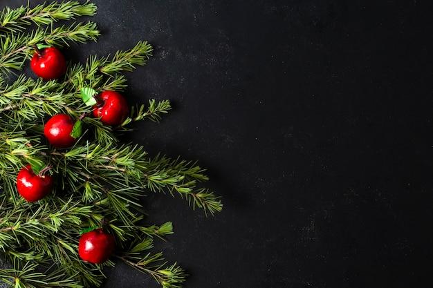 Plat lag kerstdecoratie met kopie ruimte
