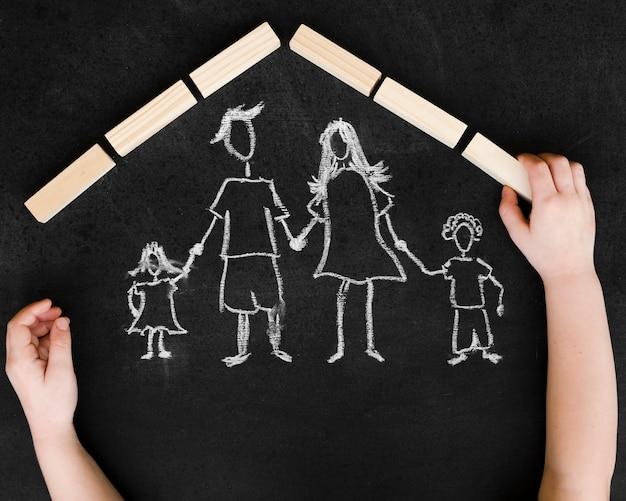 Plat lag krijttekening met familie