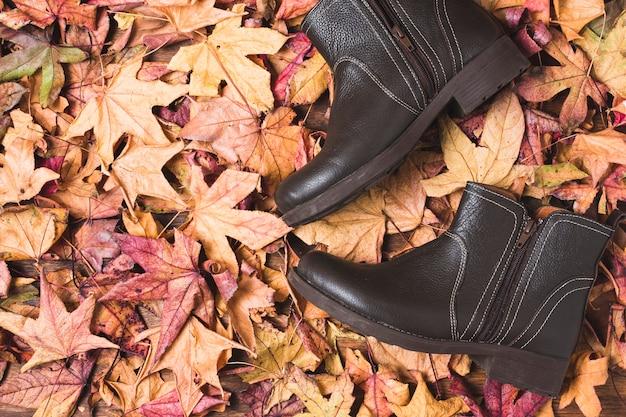 Plat lag laarzen op bladeren achtergrond