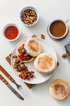 Plat lag lekker ontbijt maaltijd samenstelling