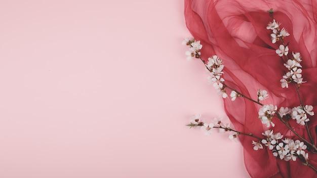Plat lag met bloeiende kersen sakura bloemen op roze pastel en paars