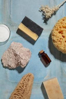 Plat lag natuurlijke zelfzorgproducten arrangement