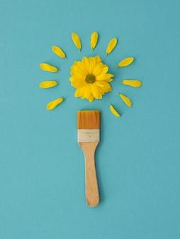 Plat lag regeling van optimisme concept met bloemen