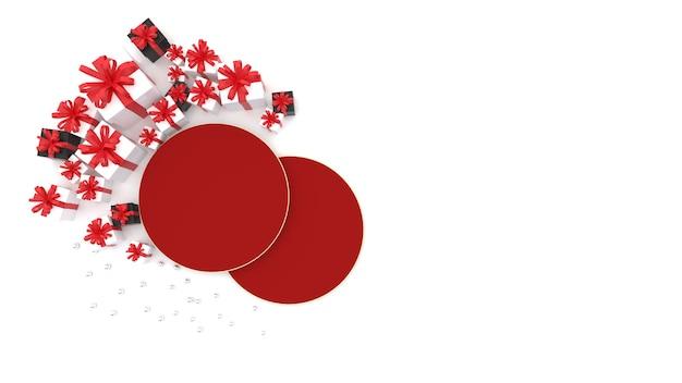 Plat lag rood ruimteplatform er is een geschenkdoos in de buurt om chinees nieuwjaar te vieren