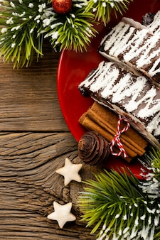 Plat lag samenstelling van heerlijk kerstdessert