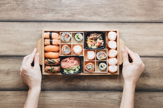 Plat lag sushi samenstelling