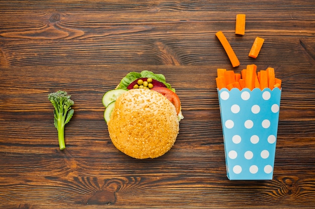 Plat lag veganistisch fastfood