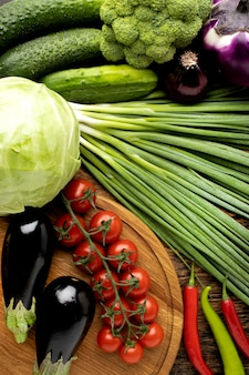 Plat lag verse groenten samenstelling
