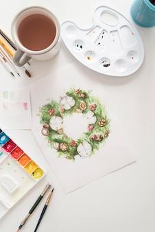 Plat leggen arrangement met aquarellen