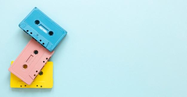Plat leggen cassettebandjes met kopie-ruimte