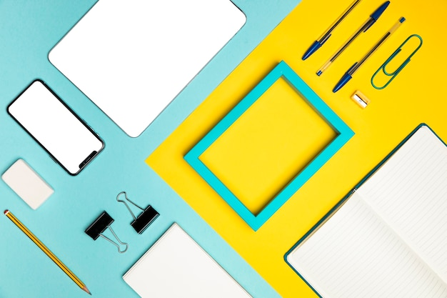 Plat leggen desktop concept met