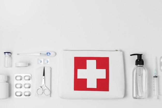 Plat leggen gezondheid stilleven arrangement met kopie ruimte
