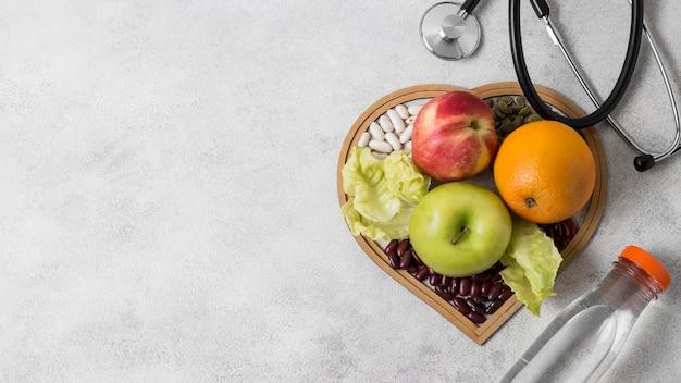 Plat leggen gezondheid stilleven met kopie ruimte