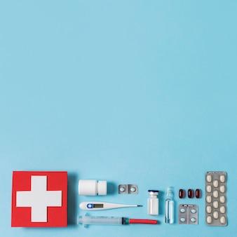 Plat leggen gezondheid stilleven samenstelling met kopie ruimte