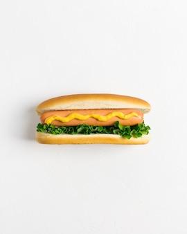 Plat leggen hotdog met copyspace