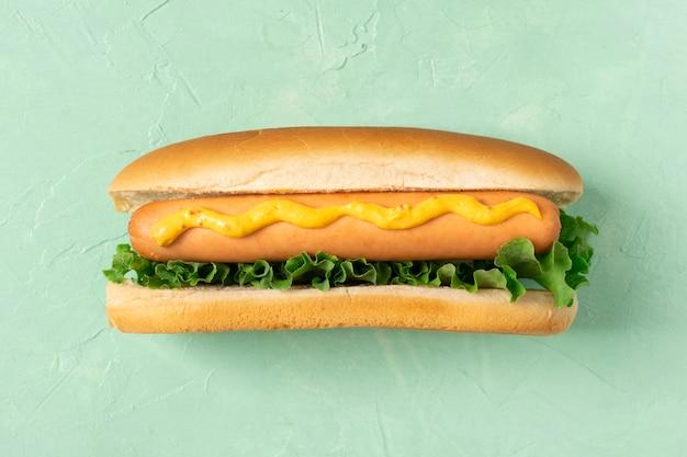 Plat leggen hotdog met salade en mosterd