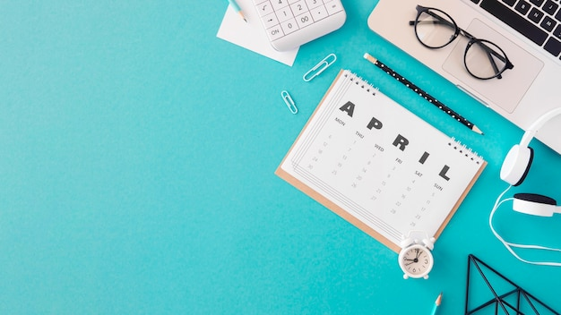 Plat leggen kalender kopie ruimte