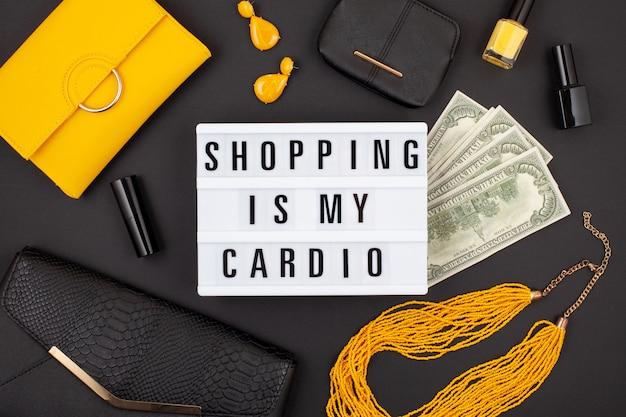 Plat leggen met lightbox en grappige quote winkelen is mijn cardio