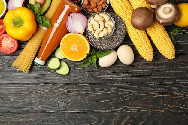 Plat leggen op verschillende voedingsproducten