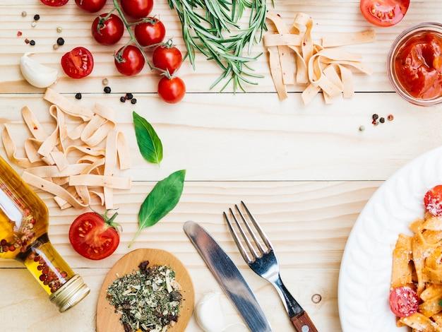 Plat leggen samenstelling van pasta