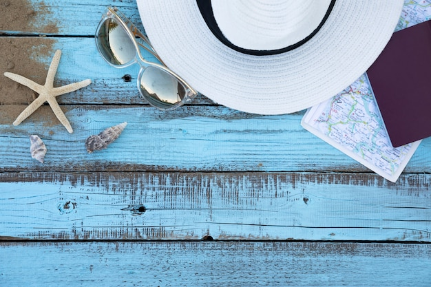 Plat leggen vakantie accessoires houten plank
