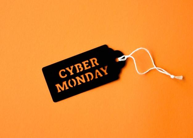 Plat leggen van cyber maandag-tag