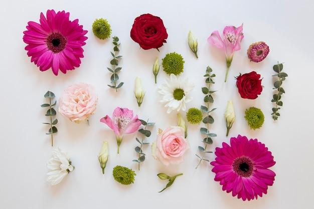 Plat leggen van een prachtig bloemenassortiment