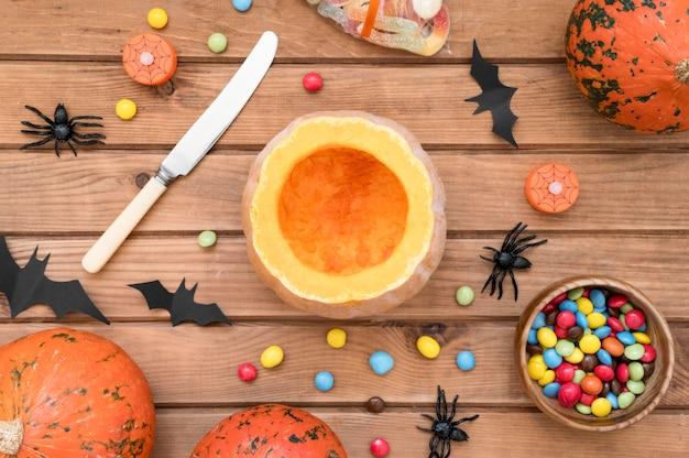 Plat leggen van halloween arrangementen concept