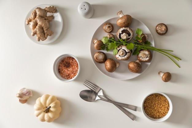 Plat leggen van heerlijk winter eten concept