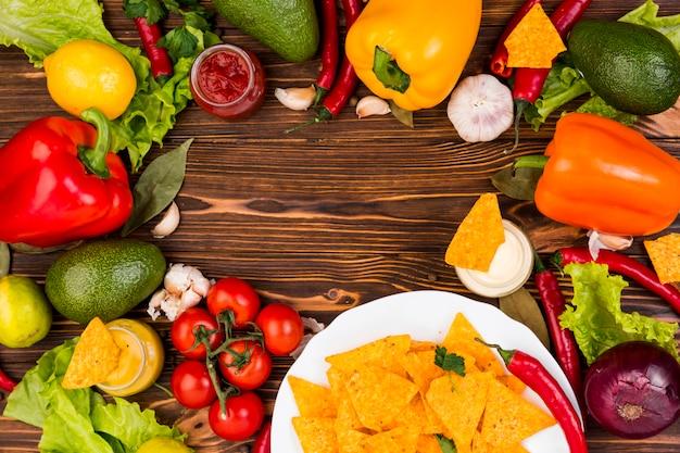 Plat leggen van mexicaans eten met copyspace