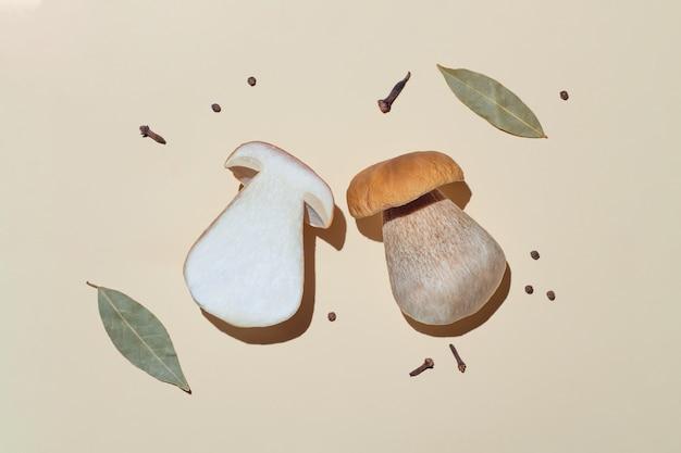 Plat leggen van paddenstoelen en kruiden voor augurken op een licht met een harde schaduw