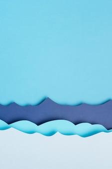 Plat leggen van papier oceaan golven