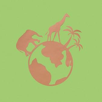 Plat leggen van papieren planeet met dieren voor dierendag
