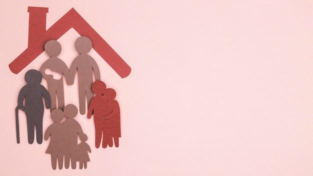 Plat leggen van prachtige huis stilleven familie