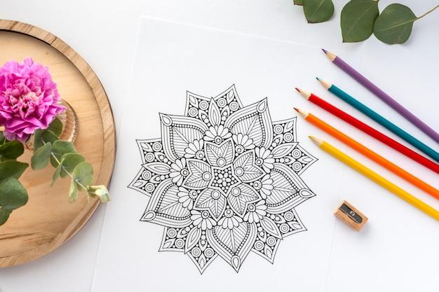 Plat leggen van prachtige mandala concept