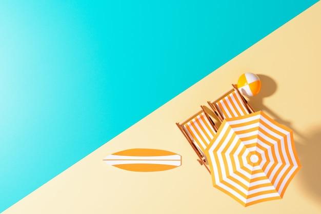 Plat leggen van samengestelde miniatuur van strandlounge met parasol