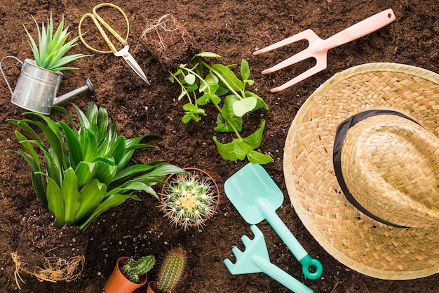 Plat leggen van verschillende tuinobjecten