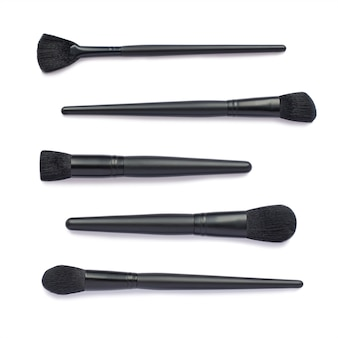Plat leggen van zwarte make-upborstels set