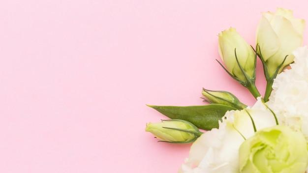 Plat leggen witte bloemen met kopie-ruimte