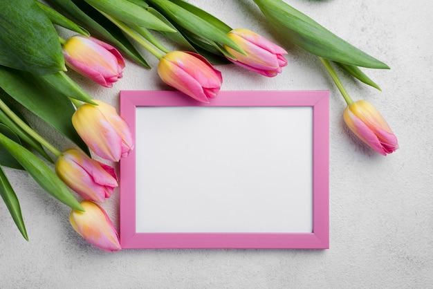 Plat liggende frame met roze tulpen