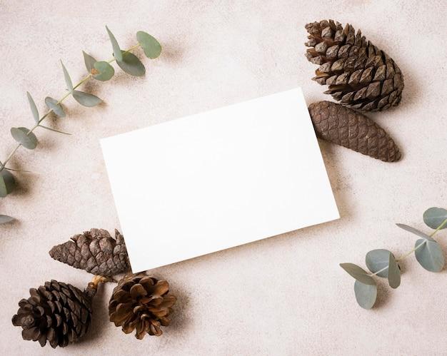 Plat papier met dennenappels en plant voor de herfst