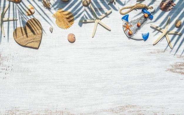 Plat van zeeshells, zeester en palmblad schaduw op grunge witte houten achtergrond.