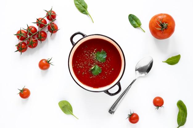 Plat zelfgemaakte soep in pot leggen