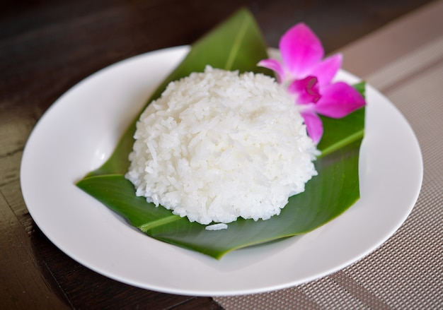 Plate of rice (thai jasmine rice)
