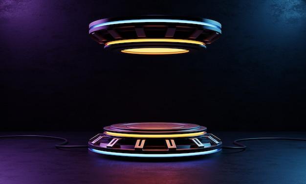 Platform voor het podium van cyberpunk-producten. futuristisch technologieconcept. 3d-weergave