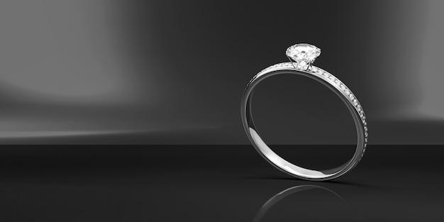 Platina trouwring met diamanten op zwarte studio achtergrond